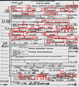 Cook County Death Certificate for Indexing