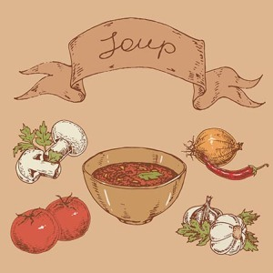 graphic hand-drawn illustrations. national Mexican soup and ingredients